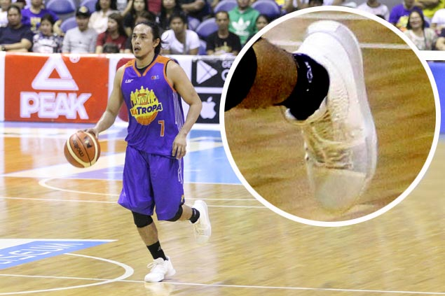 Peak endorser Romeo plays coy about taped-up Kyries he wore in TNT debut