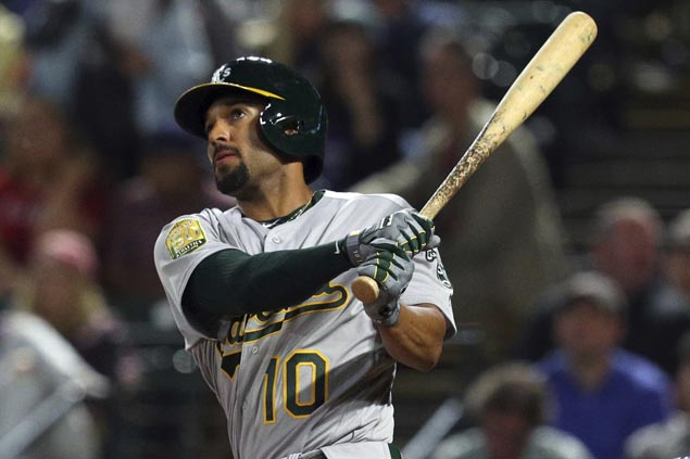 Marcus Semien's tiebreaking homer ignites six-run ninth-inning outburst as A's down Rangers