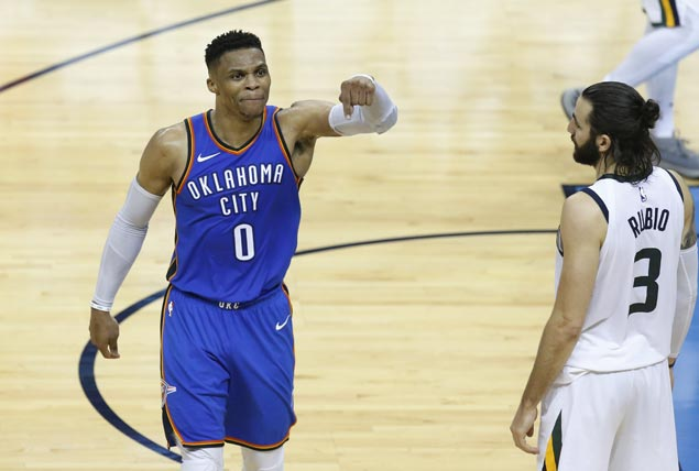 Westbrook, George lead Thunder rally from 25 down to beat Jazz and stay alive in playoffs