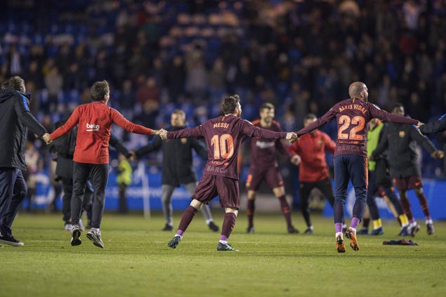 Messi scores hat-trick as unbeaten Barca claims La Liga crown with win over Deportivo