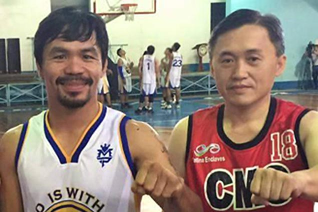 Bong Go gets in a little practice with Hontiveros and Co. ahead of three-point shootout