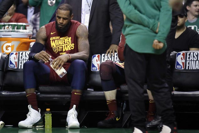 Cavs wilt after LeBron suffers sprained neck but vow to climb out of 0-2 hole