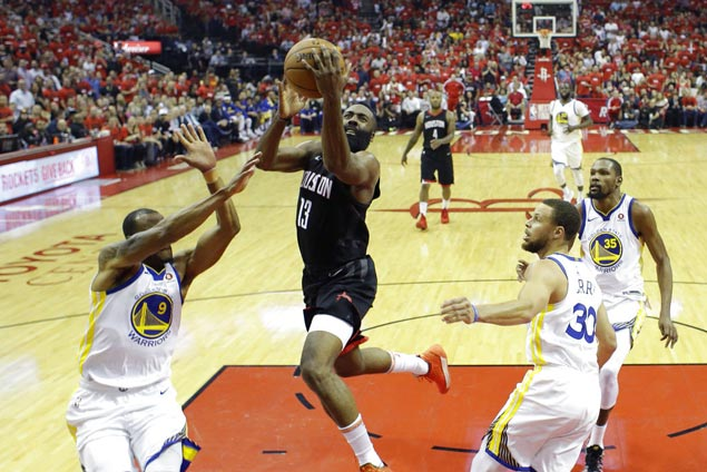 Harden, Gordon lead balanced offense as Rockets rip Warriors to even West finals
