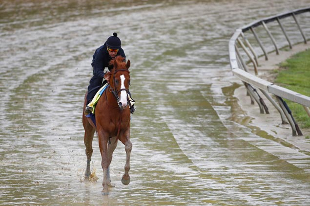 Justify shows no sign of heel bruise in workout at soggy Pimlico track ahead of Preakness