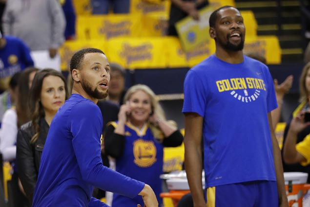 KD dismisses talk of Steph Curry shooting struggles: 'That's the last thing I worry about with Steph'