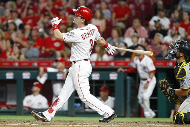 Scooter Gennett hits grand slam as Matt Harvey scores first win with Reds at expense of Bucs