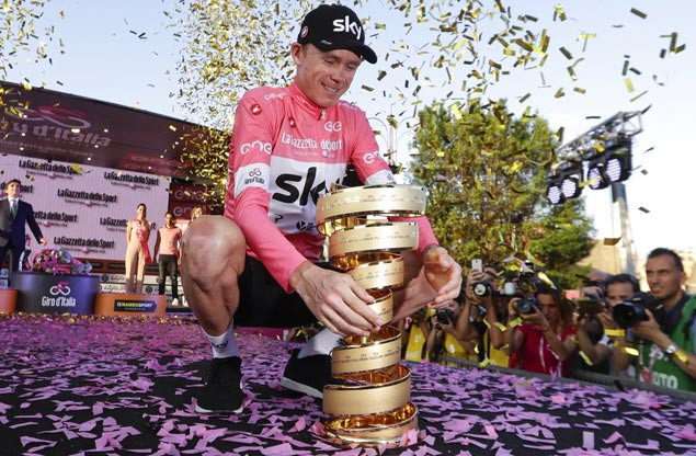 Chris Froome joins best of the best by topping Giro to clinch third straight Grand Tour