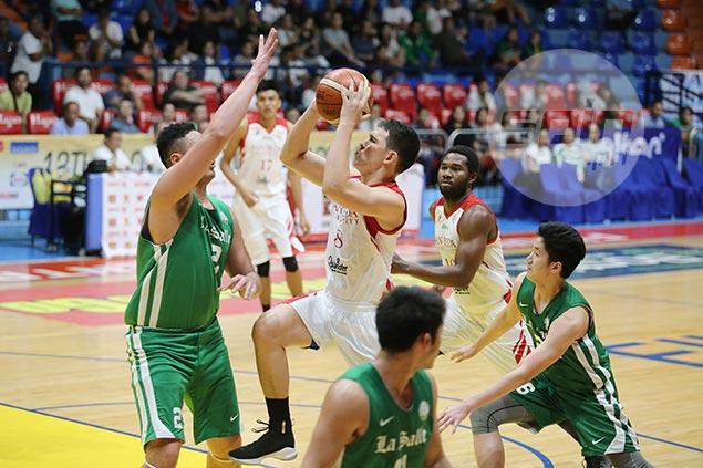 Mocon shakes off fatigue after Gilas duty, helps San Beda deal La Salle its first loss