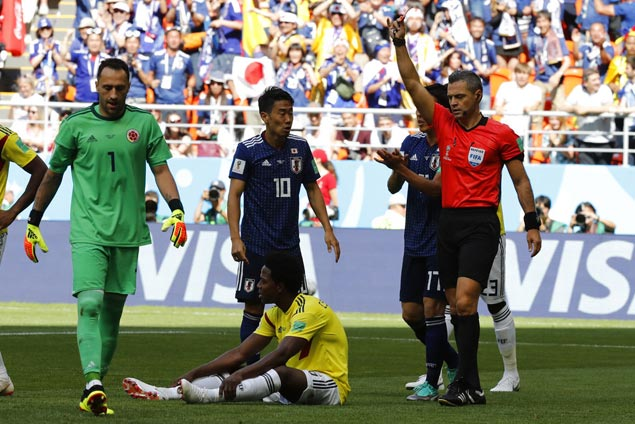Colombia's Carlos Sanchez gets first-minute red card against Japan, second-fastest in World Cup history