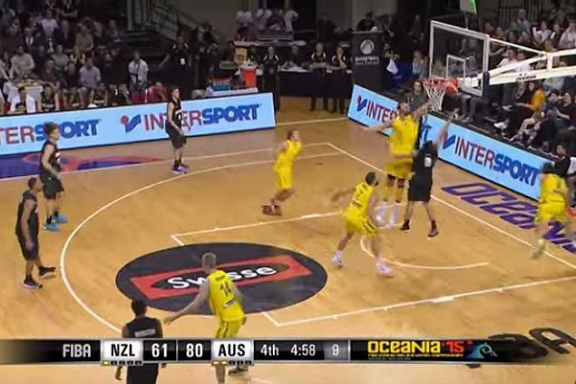 WATCH Andrew Bogut, battling back problems, comes up with a huge block to highlight his huge game for Australia against NZ
