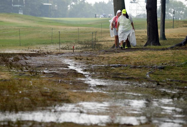 PGA third-round play suspended as storms dump more rain on an already saturated Baltusrol