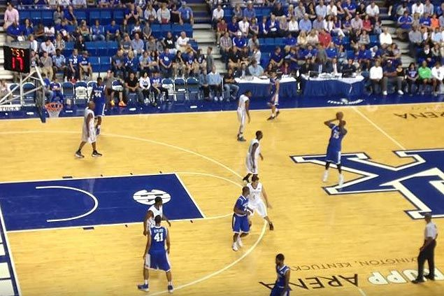 WATCH 'Splash Cousin' makes three first-half treys, hits one near centercourt logo in Kentucky-North Carolina alumni game