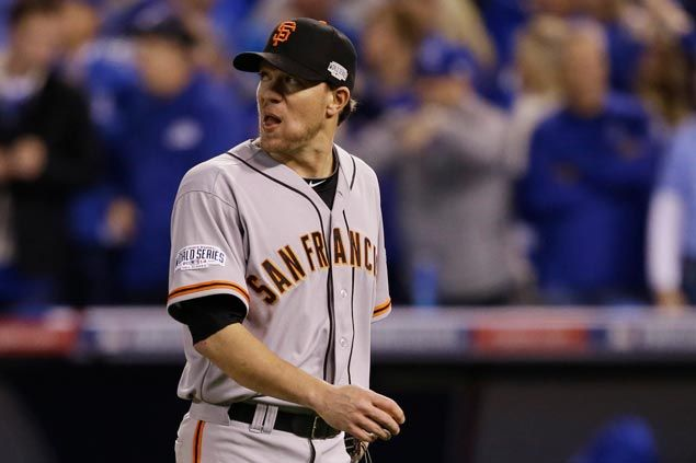 A giant meltdown as San Francisco starter Jake Peavy is driven out of game early by Kansas City batters