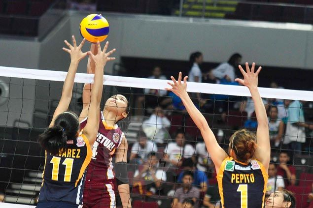 Perpetual Help recovers from a set down to beat JRU and get NCAA volley title retention bid going