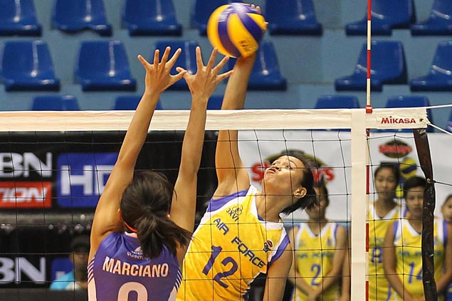 Dell Palomata, Judy Caballejo lead way as Air Force downs shorthanded Bali Pure in four sets