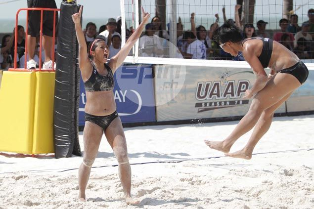 Fajardo-Demecillo tandem gives La Salle its first beach volley title with finals sweep over FEU duo of Pons, Atienza