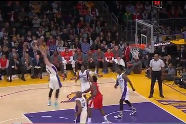 WATCH Lakers' Larry Nance hits stunning own basket from just inside free throw line