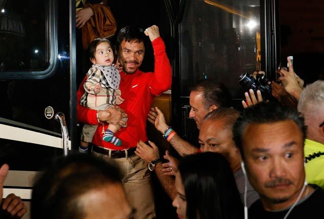 Fiesta atmosphere greets Manny Pacquiao entourage upon arrival in Las Vegas