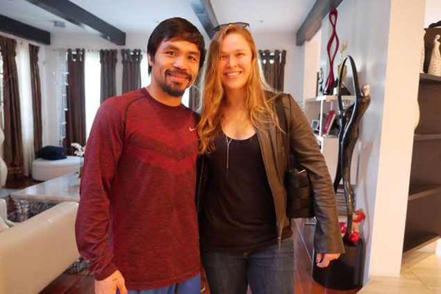 Champion meets champion as Ronda Rousey visits Manny Pacquiao