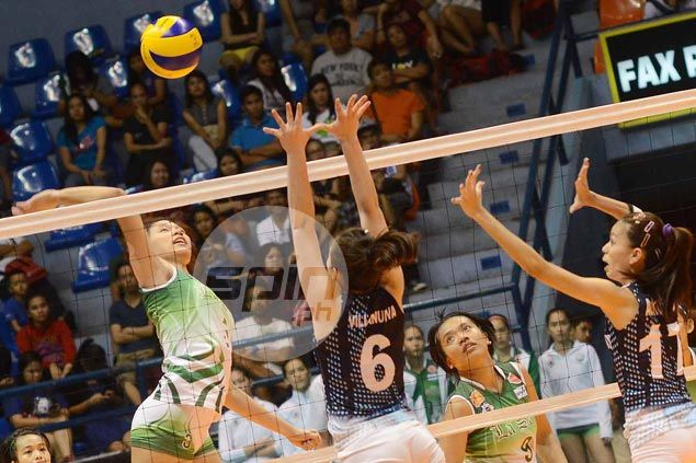La Salle Lady Spikers battle JRU Lady Bombers as Philippine National Games women's volley action begins