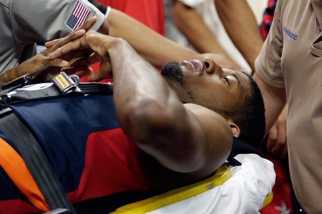Paul George suffers serious leg injury in Team USA training match
