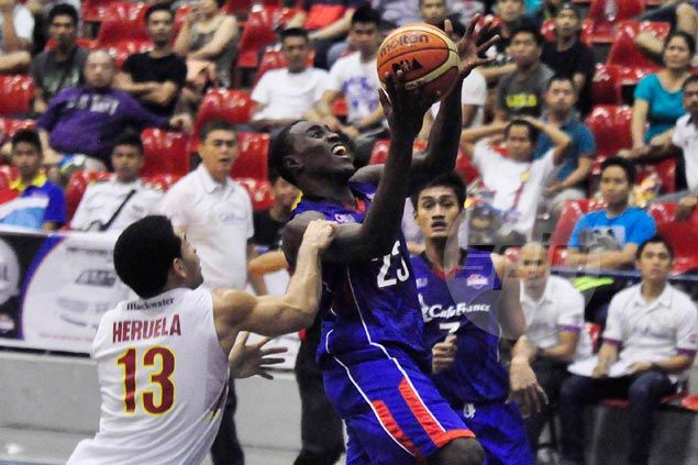 Rod Ebondo posts double-double to lift Cafe France over Jumbo Plastic and into a share of the lead