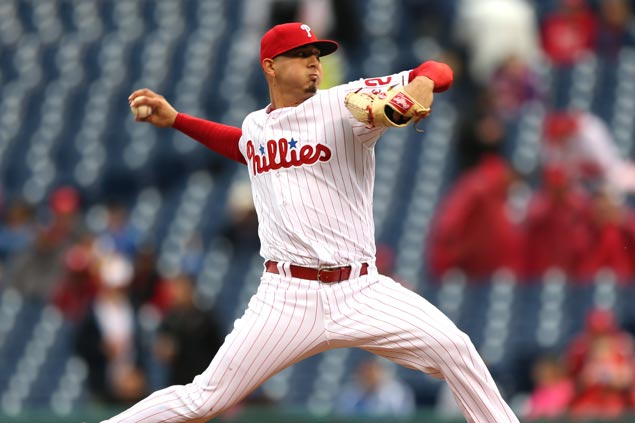 Six Phillies pitchers combine to strike out 17 in victory over Marlins