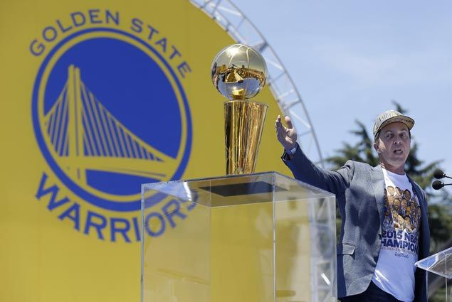 Warriors owner Joe Lacob, with the Larry O'Brien Championship Trophy, believes they will win more titles. AP