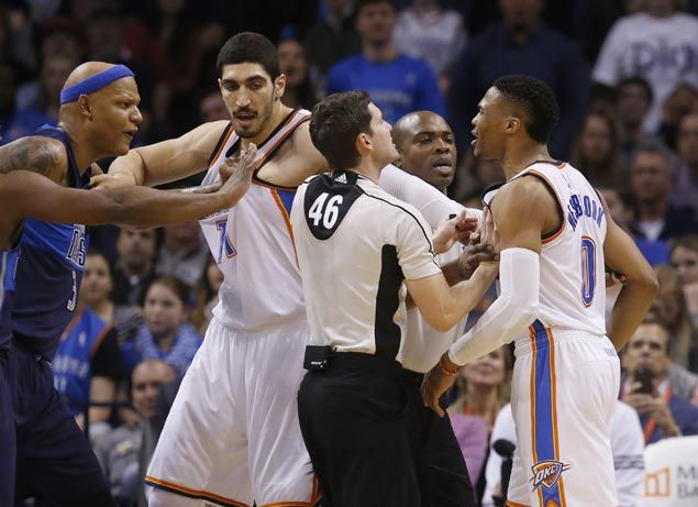 Russell Westbrook ejected early but Kevin Durant and Thunder get by Mavericks