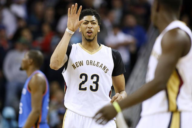 Anthony Davis leads undermanned Pelicans' balanced attack to overcome big games from OKC's Westbrook, Durant