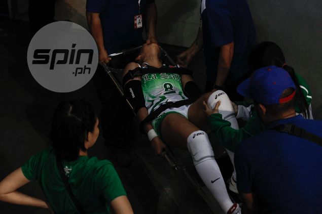 La Salle holds breath as Ara Galang rushed to Makati Med to determine extent of knee injury
