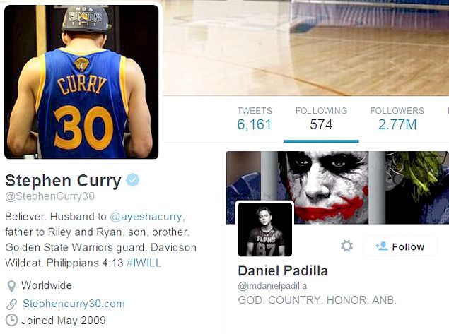 Heartthrob Daniel Padilla gets thrill of a lifetime after being followed on Twitter by idol Steph Curry