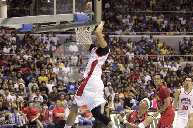 Fit-again Japeth Aguilar quick to make presence felt in Ginebra's drubbing of Rain or Shine