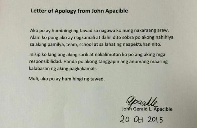 Ateneo's John Apacible says he is so ashamed of drunken rant, seeks forgiveness