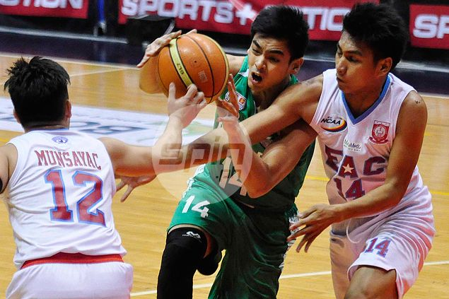 Fifth-year guard Jonathan Grey shows appreciation for St. Benilde with near triple-double vs. EAC