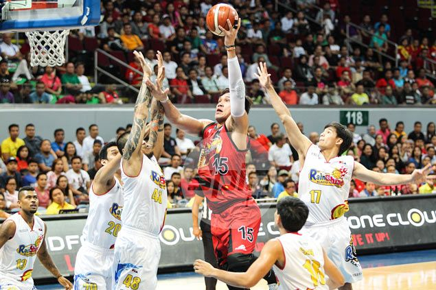 San Miguel fights back from 20 points down to stun Rain or Shine in Game One