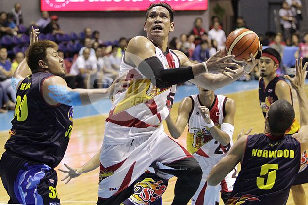 San Miguel battles back from 24-points down to snatch Game One away from Rain or Shine