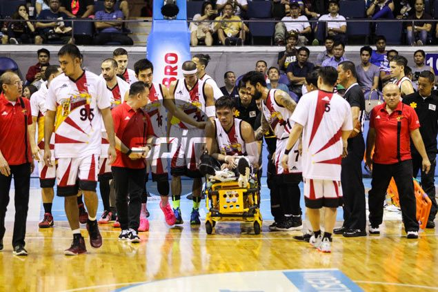 Prayers for June Mar Fajardo after SMB, Gilas star leaves Game Six with knee injury