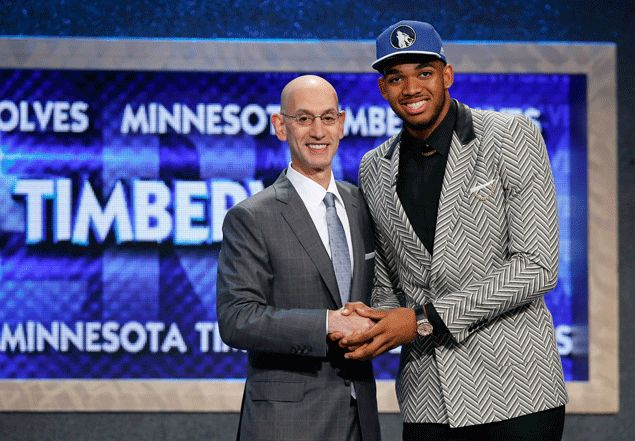 Timberwolves make Karl-Anthony Towns top pick, but Lakers shake up NBA draft by getting Russell at No. 2