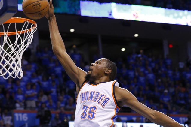 Durant erupts early, Westbrook steadies Thunder late to finish off Spurs and march to West finals