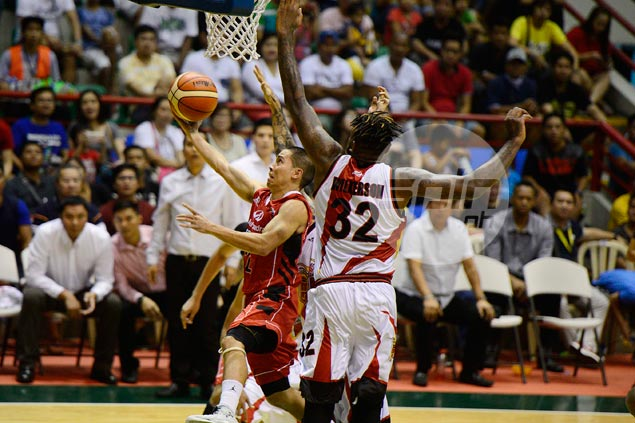 Mahindra guard LA Revilla surprised to get a technical for spitting on the floor