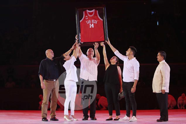 NCAA honors basketball legend Caloy Loyzaga with San Beda jersey retirement