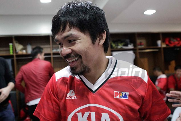 Basketball talk a welcome break for Manny Pacquiao after a hard day at the gym