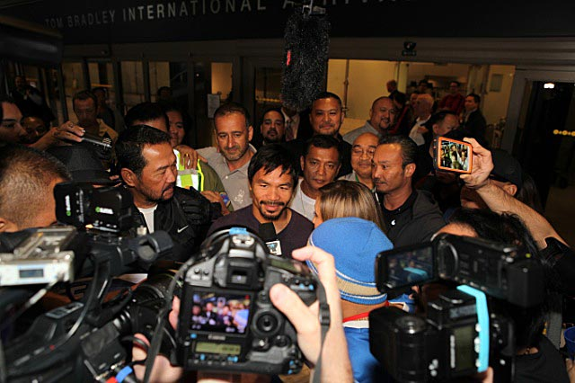 Manny Pacquiao lands in LA for final phase of training for 'farewell fight' vs Tim Bradley