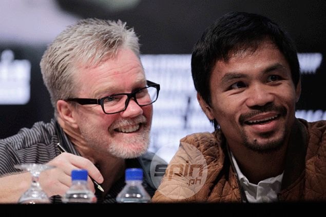 Mayweather is finally fighting the 'Pacman' - or so it seemed in Pacquiao commercial for Foot Locker