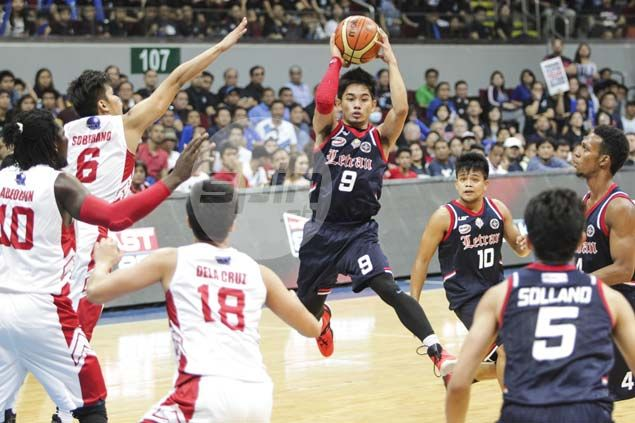 Letran Knights outduel San Beda in Game One shootout, near first NCAA title in 10 years