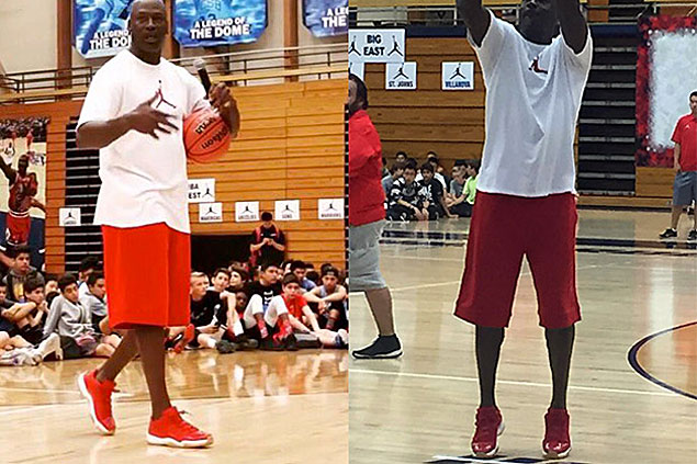 Michael Jordan debuts new red Air Jordan 11 lows in basketball camp