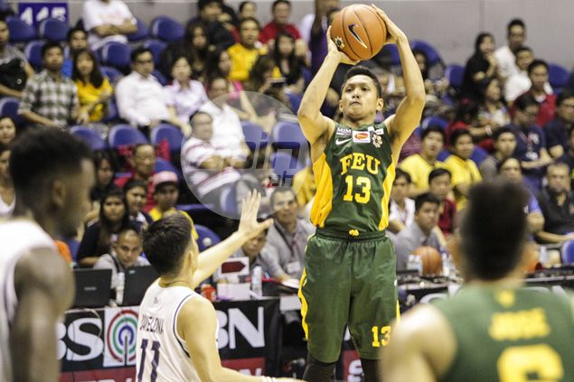 Timely Mike Tolomia treys enable FEU Tamaraws to hold off tough NU Bulldogs stand