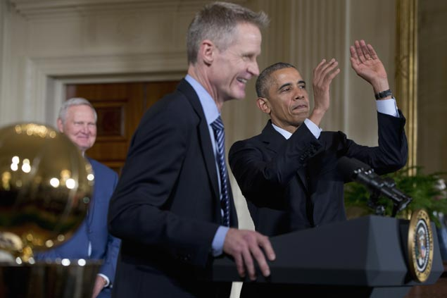 Obama salutes NBA champs Golden State Warriors at White House