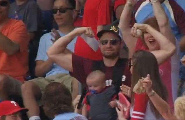 Oh, baby! Dad catches hard foul ball in Phillies game with infant son strapped to his chest